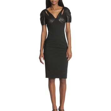 Zac Zac Posen Women's Aeryn Bondage Jersey Leather Short Sleeve Dress