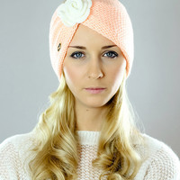 Girl,Girls,White Rose,Head Band,Winter,Knitting,Accessory,Hairbands,Head Wrap,Peach,Earmuffs,Cable Knit,Ear Warmers,Knit,Head Wraps,Adults
