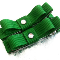 Baby/Toddler Green St. Patrick's Day Hair Clips: FREE SHIPPING with Another Item