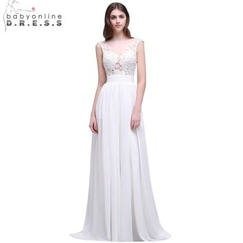 Romantic Summer Boho Lace Beach Wedding Dresses 2017 Sheer Neck Chiffon Wedding Gowns Side Slit Bridal Dress Vestido de Noiva