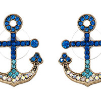 Betsey Johnson Shipshape Pave Anchor Stud Earrings
