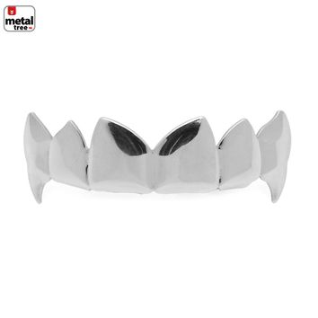 Jewelry Kay style Men's Vampire Dracula Fangs Plain Silver Plated Top Upper Teeth  GRILLZ L055 S