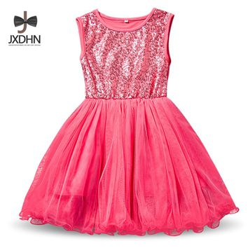 2018 Summer New Fashion Dress For Junior Senior Girl Brief Style Little Ball Gown Christening Clothing For 2-9 Yrs Girls Vestido