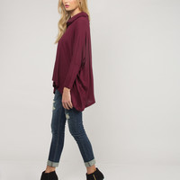 Cowl Neck Open Back Thermal Top - Medium