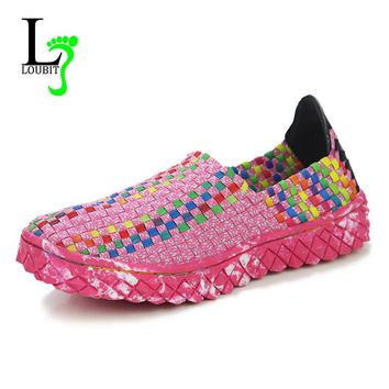 Women Shoes 2017 New Summer Soft Bottom Breathable Handmade Women Woven Shoes Fashion Comfortable Flats Ladies Shoes
