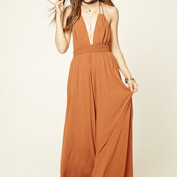 Contemporary Smocked Halter Maxi Dress