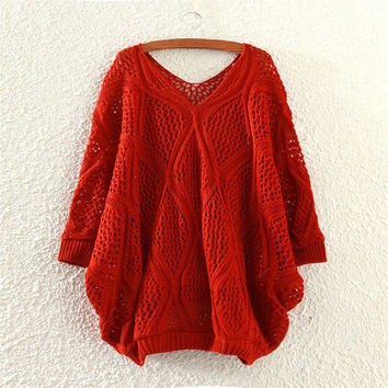 Red Comfortable Soft V Neck Womens Knit Pullover Sweater