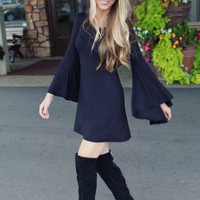 Black Bell Sleeved Dress
