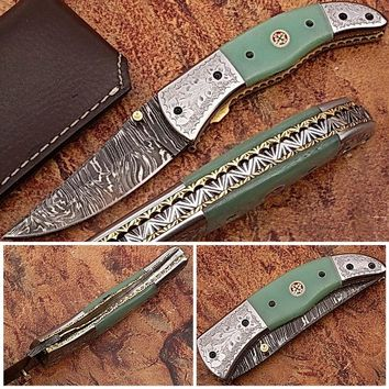 Magnum Trailmaster Damascus Folding Knife ENGRAVED Steel Bolster Composite Grip