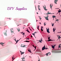 5 yards 5/8 Pink dance elastic, FOE, Wholesale elastic, headband supplies, fold over elastic, elastic for hair ties, printed elastic