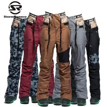 StormRunner Brand Ski Pants Women Snowboarding Trousers Warm NEW Snow Pant Colorful Camouflage Female Skiing Pants