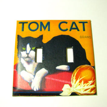 Double Light Switch Cover - Light Switch Plate Tom Cat Vintage Crate Label