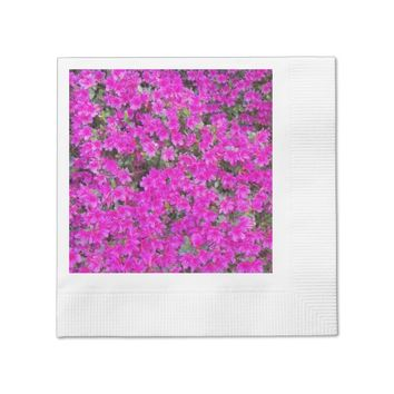 Pink Rhododendron Blossoms Floral Paper Napkin