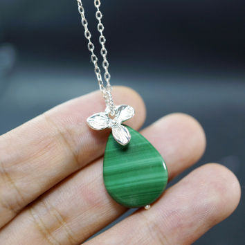 Natural Malachite Necklace  -  Sterling Silver Genuine Malachite Jewelry ,  Teardrop Malachite Pendant