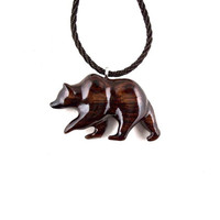Bear Pendant, Bear Necklace, Mens Necklace, Grizzly Bear Necklace, Wood Bear Necklace, Bear Jewelry, Tribal Jewelry, Grizzly Bear Jewelry