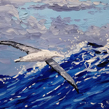 "Palette Knife Painting 14"" Original Oils on Canvas, Seascape Art, Beach Theme, Impressionistic, Sea Bird Over Ocean, by Artist Ryan Kimba"