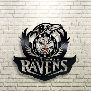 Black Hollow Baltimore Ravens Vinyl Record Clock Creative and Fashionbable CD Record Wall Clock Antique Style Hanging Wall Clock