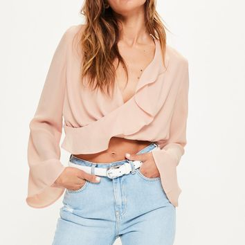 Missguided - Nude Chiffon Ruffle Wrap Over Crop Blouse
