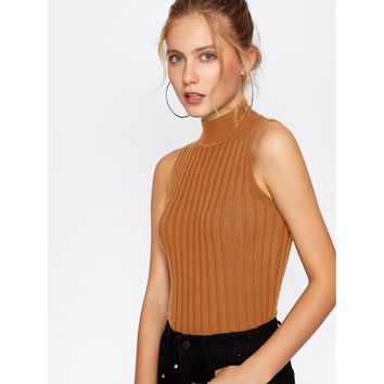Mock Neck Ribbed Knit Sweater