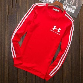 VXL8HQ Under Armour Fashion Print Cotton Long Sleeve Sweater Pullover Sweatshirt Red G-YSSA-Z
