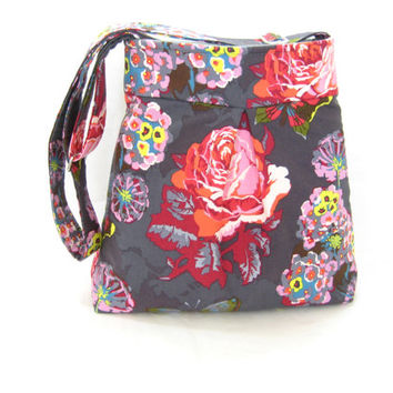 Pleated Messenger Bag, Cross Body Bag, Floral Rose Butterfly Print