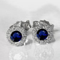Sapphire Studs Halo Earrings surrounded with Diamonds Birthday Gift Minimalist Earrings Sunflowers Earrings 14K or 18K White gold