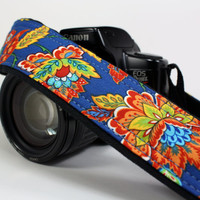 dSLR Camera Strap, Floral, Royal Blue, Orange, Yellow, Gold, Aqua, SLR