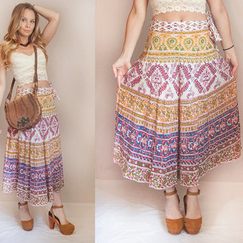 Gypsy Indian Maxi Wrap Skirt - One Size Fits Most | Summer Boho Belly Dance - Womens High Waisted Skirt - Ethnic Jacquard 70s Cotton Skirt