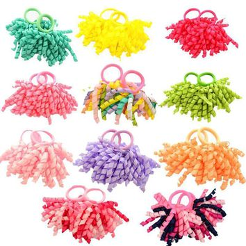 Girls  2 Pcs Candy colored Curler Hair Ties