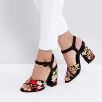 New Look Tapestry Platform Heel Sandals at asos.com