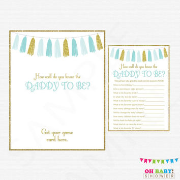 Blue and Gold Baby Shower Printables, How well do you know the DADDY to be, Boy Baby Shower Games, Instant Digital Download, Tassels, TASBG