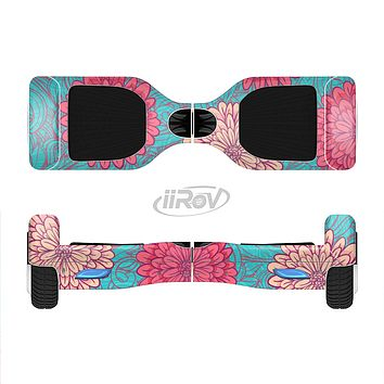 The Pink & Blue Floral Illustration Full-Body Skin Set for the Smart Drifting SuperCharged iiRov HoverBoard