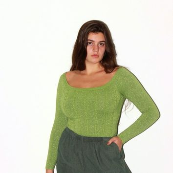 Lime Green Scoop Neck Sparkle Sweater / M L
