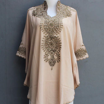 Light Brown Caftan Blouse Embroidery Dress Chiffon Wedding Summer Party Kaftan Dress