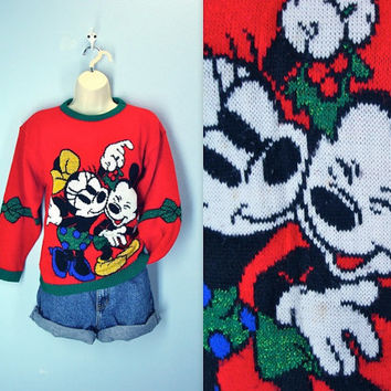 ugly Christmas Sweater / Micky Minnie Mouse Mistletoe