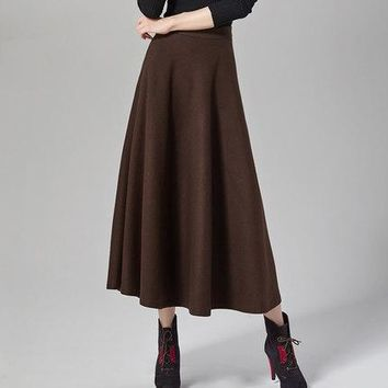 maxi A line Women's skirt winter ankle length elastic waist long warm skirts wool