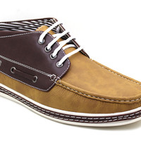 Men's Boat Shoes Ankle Lace Up Comfort Moccasin - Dacio Tan