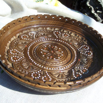 Wood tray Wooden plate Wooden tray Wooden bowl Wood carving Fruit bowl Wedding gifts Wooden trays Coffee color Wood trays Fruit bowl