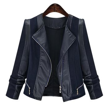Trendy kenancy Plus Size Chic Zippers Faux Leather Patchwork Jacket For Women Coat Autumn Jackets Slim Coats Female Womens Outwear 2018 AT_94_13
