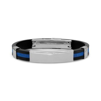 """8"""" Stainless Steel and Blue Rubber ID Men's Bracelet"""