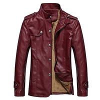 Button Down Mens Leather Jacket