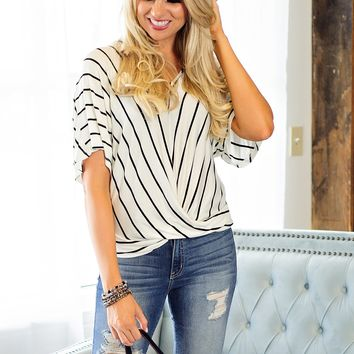 * Time Will Tell Striped Top: White