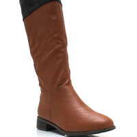 Two-Tone-Faux-Leather-Riding-Boots CHESTNUT - GoJane.com