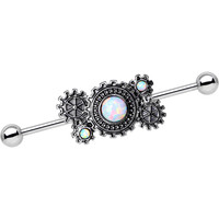 White Synthetic Opal Steel Get in Gear Industrial Barbell 38mm