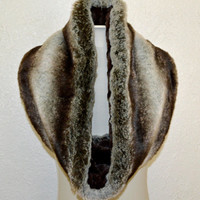 Faux Fur Chinchilla Scarf, Brown Faux Fur Cowl, Neck Warmer, Neck Piece, Circle Scarf, Ready to Ship!