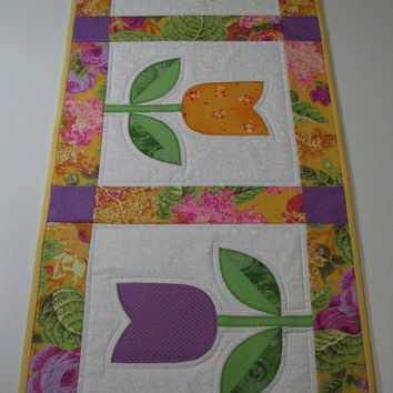 Quilted Table Runner , Springtime Tulips , Yellow/Violet/Pink/Green