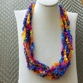 "Celebration  Trellis Ribbon Ladder Yarn  Necklace 18 to 26"" Long"