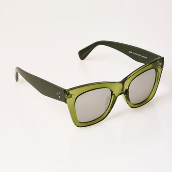 Retro Style Olive Green Close Up Square Sunglasses
