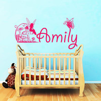 Name Wall Decals Butterfly Personalized Decal Girl Name Vinyl Stickers Kids Nursery Home Bedroom Decor T134
