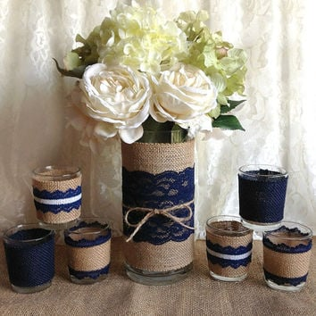 navy blue rustic burlap and lace covered vase and 6 tea candles, wedding, bridal shower, birthday, home decor